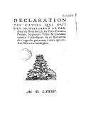 Déclaration des causes qui ont meu Monseigneur le cardinal de Bourbon (20 avril 1585)