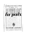 Par la révolution, la paix / Romain Rolland
