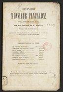 Bonsoir, monsieur Pantalon opéra comique en un acte / par MM. Lockroy et de Morvan ; [de Morvan] ; musique de M. Albert Grisar, représenté pour la première fois à Paris sur le théâtre de l'Opéra Comique, le 19 février 1851