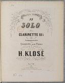 Treizième Solo pour clarinette si bémol avec accompagnement de quintette ou de piano
