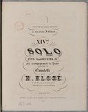 Quatorzième Solo pour clarinette si bémol avec accompagnement de piano ou de quintetti