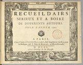 Recueil d'Airs sérieux et à boire de différents auteurs pour l'année 1701