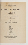 Les petits mémoires de Paris. Les petits métiers / contenant quatre eaux-fortes originales par Henri Boutet