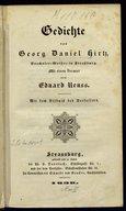 Gedichte / von Georg Daniel Hirtz ; mit einem Vorwort von Eduard Reuss