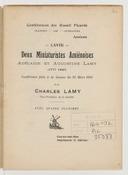 Deux miniaturistes amiénoises, Adélaïde et Augustine Lamy (1777-1849) : conférence faite à la séance du 21 mars 1914 / par Charles Lamy,...