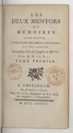 Les deux mentors, ou mémoires pour servir à l'histoire des moeurs anglaises au 18ème siècle