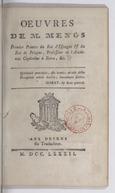Oeuvres de M. Mengs premier peintre du roi d'Espagne & du roi de Pologne,^professeur de l'Académie Capitoline à Rome, &.
