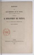 Rapport sur les mémoires de M. Payen,... concernant le développement des végétaux / fait à la Société royale d'horticulture, par M. Poiteau