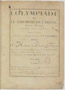 L'Olympiade ou le triomphe de l'amitié, drame héroïque en trois actes et en vers. Imité de l'italien et parodié... Représenté pour la 1re fois par les Comédiens italiens ordinaires du Roi le 2 octobre 1777 et à...