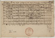 Canticum B. Mar. Virg. a 5 v. et 2 viol. Maur. cazzati. C. A. T. T. B. VV. BC
