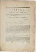 Lettre de M. Caffieri ; sculpteur du roi, et professeur en son Académie royale de Peinture et de Sculpture ; à M. Bailly, Maire de la Ville de Paris, le 27 juin 1790