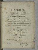 Ouverture de l'opéra du Solitaire, musique de Carafa, arrangée en harmonie... par F. Berr