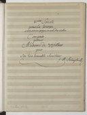 """""""I.mier Sonate pour La harpe avec, accompagnement d'un violon Composée, pour Madame de Willers par son très humble serviteur j. B. M. Krumpholtz"""", suivie d'une 2e Sonate pour la harpe (manuscrit autographe)"""