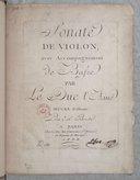 Sonate de violon avec accompagnement de basse... oeuvre posthume... [si b]