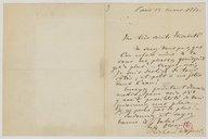 """[Billet autographe avec enveloppe de Richard Wagner à Mademoiselle Marie Sax, """"12 mars 1861""""]"""