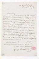 [Lettre de Georges Mathias à Monsieur de Beauchêne, 21 août 1862] (manuscrit autographe)