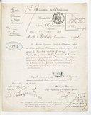 [Avis d'ordonnance pour le payement de la partition écrite pour la cérémonie funebre en l'honneur du général Damrémont aux Invalides, 1er février 1838] (manuscrit autographe)