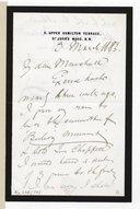 Lettre de Charles Santley à Julian Marshall,Londres, 3 mars 1883 (manuscrit autographe)