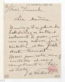 [Lettre de Jean Baptiste Weckerlin à Madame xxx, Dimanche] (manuscrit autographe)