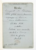 [Menu bleu, 12 avril 1892] (manuscrit autographe)
