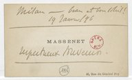 [Carte de visite de Jules Massenet à Marcel Journet, Milan, 19 janvier 1896] (manuscrit autographe)
