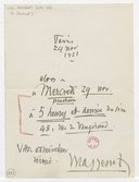 [Lettre autographe signée de Jules Massenet à Marcel Journet, Paris, 24 novembre 1921] (manuscrit autographe)