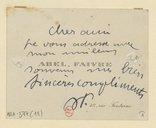 [Lettre d'Abel Faivre à Jean Lassalle, non datée] (manuscrit autographe)
