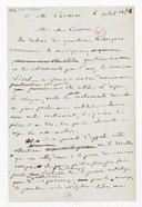 [Brouillon de lettre de François Bazin à Cormon, 6 juillet 1873] (manuscrit autographe)