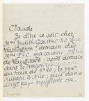 Lettre de Pierre Louys à Claude Debussy, [Paris, dimanche 29 janvier 1899] (manuscrit autographe)