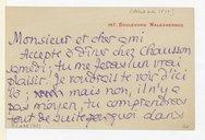 Lettre de Pierre Louys à Claude Debussy, Paris, [mai 1899] (manuscrit autographe)