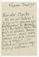 Lettres de Pierre Louys à Claude Debussy, Lapras, 21 et 29 août 1895 (manuscrit autographe)