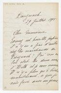 [Lettre autographe signée de Rose Caron, cantatrice, à Alphonse Duvernoy (?), Kreuznach, 29 juillet 1895] (manuscrit autographe)