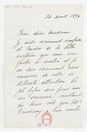 [Lettre autographe signée de Rose Caron, cantatrice, à Madame A. Duvernoy (?), 24 avril 1896] (manuscrit autographe)