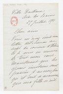 [Lettre autographe signée de Rose Caron, cantatrice, à Alphonse Duvernoy (?), Aix-les-Bains, 27 juillet 1897] (manuscrit autographe)