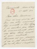 [Lettre autographe signée de Rose Caron, cantatrice, à Madame A. Duvernoy (?), Monnerville, 17 septembre 1902] (manuscrit autographe)