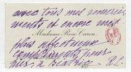 [Carte de visite de Rose Caron, cantatrice, à Yvonne Gall] (manuscrit autographe)