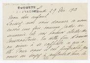 [Carte de Rose Caron, cantatrice, à Francell, 29 décembre 1913] (manuscrit autographe)