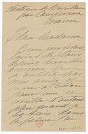[1 lettre de Madeleine Lemaire à Louise Massenet] (manuscrit autographe)