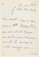 [1 lettre de Stephen Heller à Jules Massenet, 20 juin 1882] (manuscrit autographe)