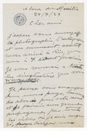 Fonds Henry Prunières. Correspondance reçue par Henry Prunières. Correspondants S-W. Villa-Lobos, Heitor