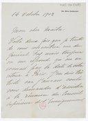 [Lettre autographe signée de Rose Caron à Jules Massenet, Paris, 14 octobre 1902] (manuscrit autographe)