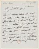 [Lettre autographe signée de Rose Caron à Jules Massenet, Paris, 19 juillet 1903] (manuscrit autographe)