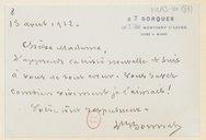 [Lettre autographe signée de Léon Bonnat à Louise Massenet, Sorques, 15 août 1912] (manuscrit autographe)