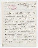 [Lettre autographe signée de Damoreau-Cinti à Perrot, Chantilly, 24 avril 1848] (manuscrit autographe)