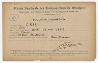 [Bulletin d'adhésion de l'Union Syndicale des compositeurs de musique] (manuscrit autographe)