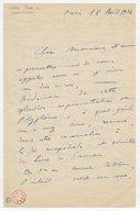 [Lettre autographe signée de Jean Cras à Henri Albers, Paris, 18 avril 1924] (manuscrit autographe)