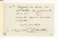 [Billet (d'admission de Mademoiselle Forgeot comme élève)] (manuscrit autographe)