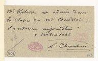 [quelques mots concernant l'admission d'une élève, 8 octobre 1825] (manuscrit autographe)
