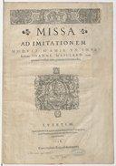 Missa ad imitationem moduli (M'Amie un jour)... cum quatuor vocibus, nunc primum in lucem aedita
