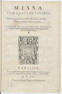 Missa cum quatuor vocibus, ad imitationem moduli Ab initio, condita . Nunc primum in lucem edita. Autore D. Claudio de Sermisy,...